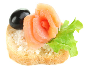 Canape salmon, black olive and herbs