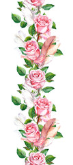 Rose flowers and feathers frame. Seamless border. Water color
