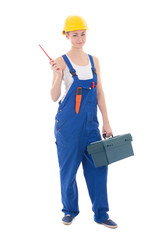 young beautiful woman builder in workwear with toolbox and screw