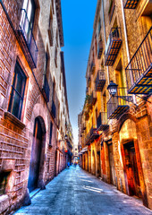 Acrylic Prints Narrow alley narrow road in the old center of Barcelona in Spain. HDR