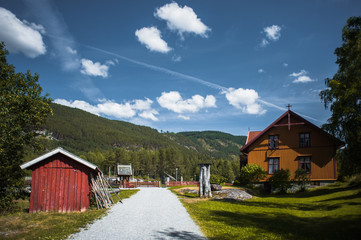 Ancient fisherman's wooden huts in ethnic park, Norway