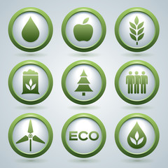 Ecology vector icons set, eco design, nine buttons