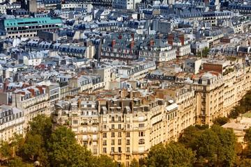 Paris aerial view. Retro filtered tone.