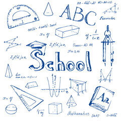 Back to school. Freehand drawing school items.