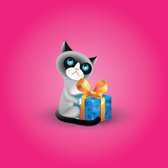 Vector illustration of grumpy cat with blue gift box