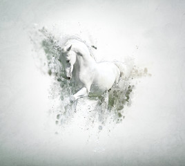 Graceful white horse, abstract animal concept
