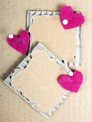 cardboard plaques and felt hearts - Valentine background