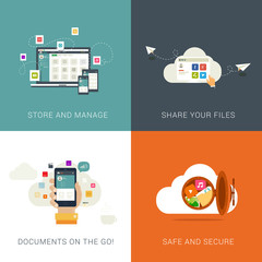 Flat Style concepts for Cloud Services and File Management.