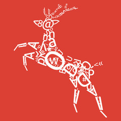 Deer with alphabet and numbers ornament. For t-shirt design.