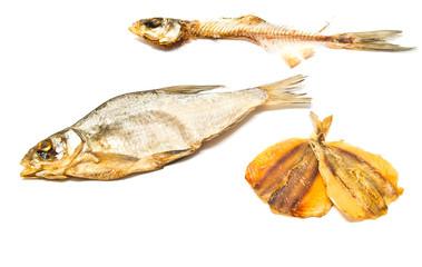 skeleton and smoked fish closeup