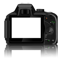 Digital SLR camera (dSLR) with blank LCD screen isolated