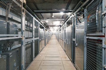 electric boxes corridor of industrial building