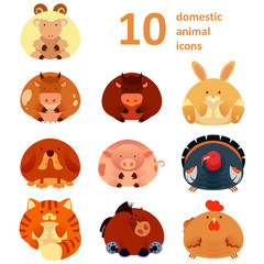 Vector collection of farm animals