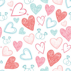 vector seamless wedding, valentine hipster hand drawn cute