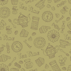 Vector pattern with hand drawn tea time symbols on green color