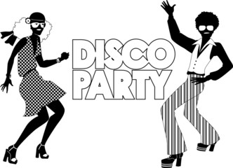 Fototapete - Disco party black silhouette banner