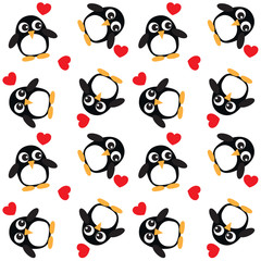 background with penguins and hearts