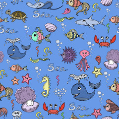 Vector pattern with hand drawn fish and underwater world