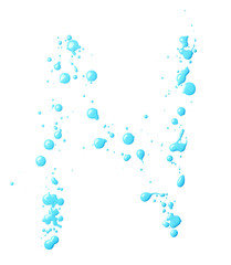 Letter made with the paint drops