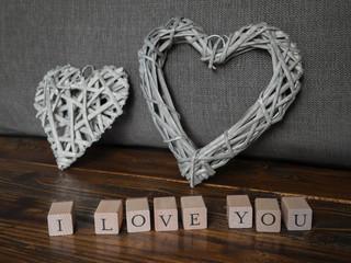 I LOVE YOU mit zwei Herzen