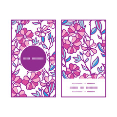 Vector vibrant field flowers vertical round frame pattern