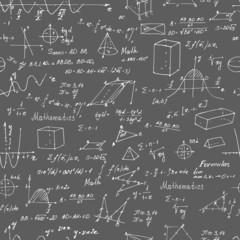 Math. Seamless pattern with trigonometry formulas.