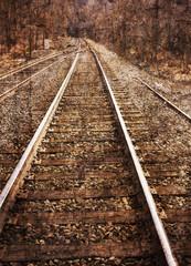 Textured image of railroad tracks