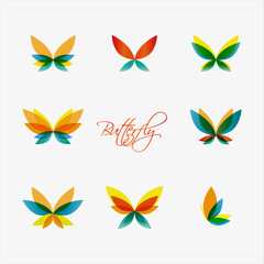 Set of colorful butterflies logos. Vector illustration.