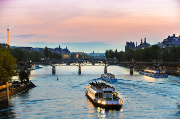 Tour Boats on Seine at Sunset Wall mural
