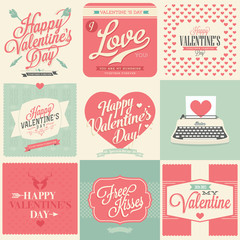 happy valentines day vintage retro cards