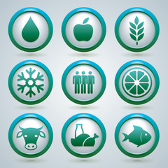 Food, fruit, meat, and fish vector icons set, design