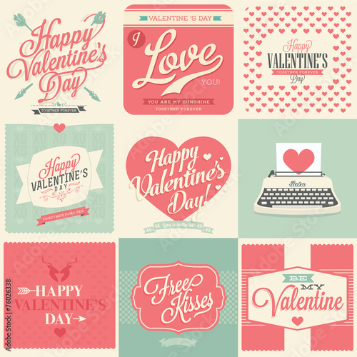Happy Valentines Day Vintage Retro Cards Stock Image And Royalty