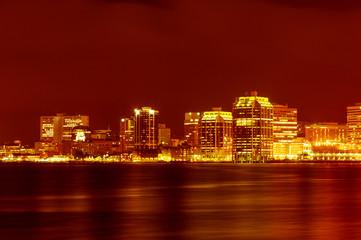 Downtown Halifax nightly panorama across Halifax harbour