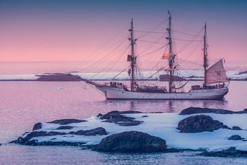 sailing ship in Antarctica