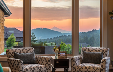 Beautiful Living Room Detail with Sunrise View