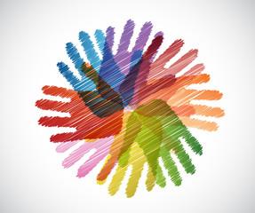 diversity hands scribble illustration design