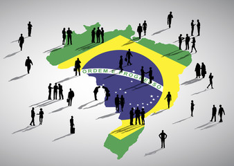 Group of Business People with Brazil Map Concept