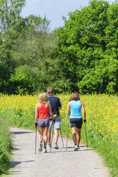 Drei Walker in grüner Natur