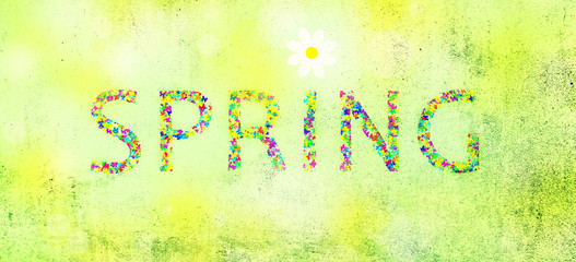 Grunge colorful spring word with flower