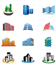 Skycrapers icons set