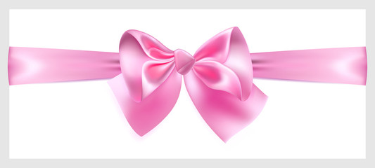 Pink bow with ribbon, located horizontally