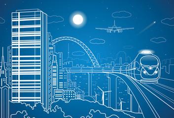 City transport panorama, airplane fly, train on the bridge