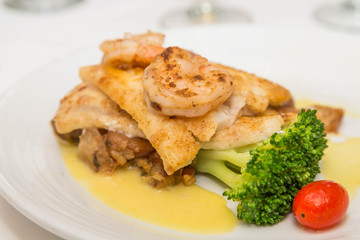 Sauteed Shrimp on Broiled Fish