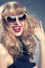 Pinup girl in sunglasses.