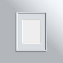 White frame on a wall vector background design for your content