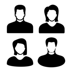 Two men and women black avatar profile picture set. Vector