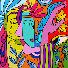 Wall Murals Classical abstraction Abstract with colorful faces