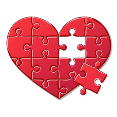 Detailed Icon. Heart puzzle isolated on white background