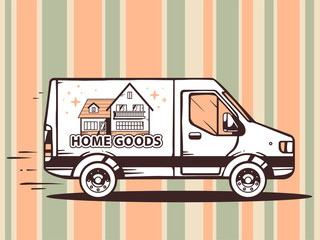 Vector illustration of van free and fast delivering home goods t