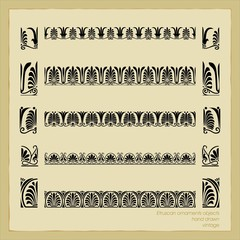 Set vintage ornate border frame filigree